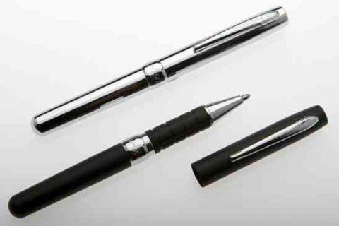Bolígrafo Fisher Explorer cromado y negro con clip