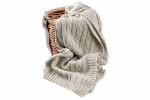 Manta mixta de lana punto trenzado