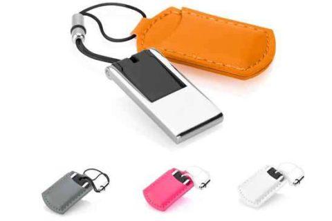 Memoria USB mini en metal y funda símil piel Ref. USM6301